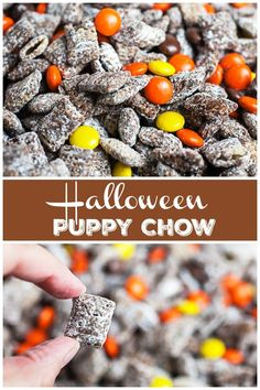 This Halloween Puppy Chow recipe is easy to make and perfect for a party! It's made with Rice Chex Cereal, chocolate, peanut butter, powdered sugar, and Reese's Pieces candies. This gluten free snack is the best holiday treat. These fun Muddy Buddies are sweet, salty, and totally addicting! A great dessert for fall or anytime. #puppychow #muddybuddies #halloween #chex #cereal #chocolate #glutenfree
