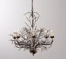 Dendríticas personalidade retro ramos criativos de beleza Americano ferro do vintage luz pingente de cristal lâmpada de pendente(China (Mainland))