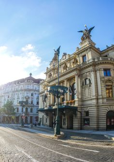Vinohrady Theatre (Divadlo na Vinohradech): This prestigious theatre with a history over a century old is one of the cornerstones of Prague theatrical life. Prague Architecture, Beautiful Buildings, Czech Republic, Theatre, The Neighbourhood, Places To Visit, Walking, Explore, History