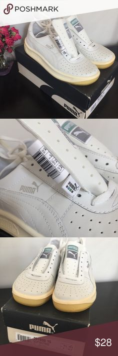 New PUMA Women's GV White Leather Sneakers. Sz 8. New VINTAGE PUMA Women's GV Special White Leather Sneakers.  The GV Special lets you showcase iconic 80's style.  Perforated leather upper with signature overlays for sleek style. EVA midsole for extra cushioning.  Thick rubber outsole for durability.  New, never worn or laced, size 8.  Made in Hungary.  From the 90s ORIGINAL box and not made in China! Puma Shoes Sneakers
