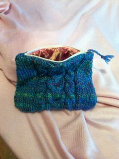 "Knitted / lined makeup bag by ""it's Sew Woolly"""