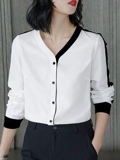 White Long Sleeve Color-block Buttoned Blouse – Plus Size Fashion Women's Dresses, Casual Dresses, Fashion Dresses, Beach Dresses, Casual Outfits, Blouse Styles, Blouse Designs, Vetement Fashion, Moda Chic