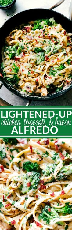 DELICIOUS SKINNY CHICKEN ALFREDO- A delicious and rich chicken broccoli Alfredo with bacon that is secretly lightened-up. Half the calories, all the great flavors! Recipe from chelseasmessyapron.com