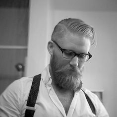 handsome full thick blonde beard and mustache glasses undercut hair beards bearded man men mens' style suspenders blond #sharpdressedman #goldenboy #beardsforever