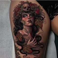 Nice neotraditional tattoo works of Wild Girl motive done by tattoo artist Hannah Flowers from Hobart, Australia Stomach Tattoos, Head Tattoos, Body Art Tattoos, Cool Tattoos, Portrait Tattoos, Ink Master Tattoos, Baby Tattoos, Forearm Tattoos, Flower Tattoos