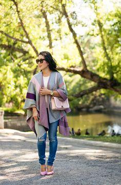 cute & little blog | petite fashion | talbots plaid wrap, minkoff pink love crossbody, pink pumps | fall winter outfit