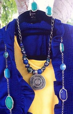 Premier Designs Jewelry Combo:  Dive In necklace with Bora Bora enhancer, layered with Gemma