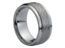 Tungsten Carbide Ring Brushed Center Laser Engraved Celtic Pattern Wedding Band