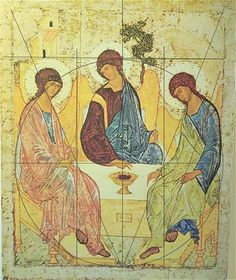 Andrei Rublev's icon of the Holy Trinity--also known as the Hospitality of Abraham--was painted in Russia in the early century and is . Religious Images, Religious Icons, Religious Art, Byzantine Icons, Byzantine Art, Andrei Rublev, Church Icon, Sacred Geometry Tattoo, Saint Esprit