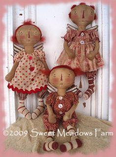 Annie Angels by Sweetmeadows Farm Primitive Doll Patterns, Primitive Crafts, Primitive Antiques, Raggy Dolls, Ann Doll, Sewing Dolls, Soft Dolls, Soft Sculpture, Fabric Dolls