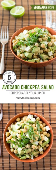 Avocado Chickpea Salad. Ready in 5 minutes | #lunch #vegetarian | hurrythefoodup.com