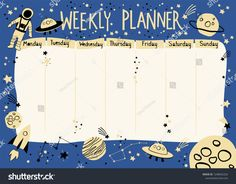 Find Weekly Planner Space Theme Cartoon Style stock images in HD and millions of other royalty-free stock photos, illustrations and vectors in the Shutterstock collection. Schedule Printable, Kids Schedule, Schedule Design, Cute Cartoon Wallpapers, Space Theme, Study Motivation, Weekly Planner, Cartoon Styles, Royalty