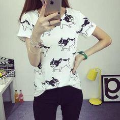 Women Dress Summer New Fashion Female T-shirt Korean Sweet Cartoon Cat Printed Ladies Short Sleeve Tops Factory Outlets