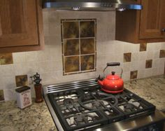 Backsplash Tiles Rustic Cabin Accent Ceramic Leaf Tile Square Change Of Seasons Glaze