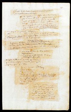 Blaise Pascal, Pensées   Manuscrit autographe, 1656-1662 498 p. précédées des f. A-E, 43 x 28 cm BNF, Manuscrits, Fr. 9202, f. 47  BnF - Brouillons d'écrivains;  More! http://expositions.bnf.fr/brouillons/enimages/feuille/index.htm