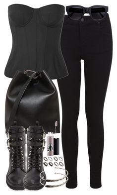 """Erica Inspired All Black Outfit"" by veterization ❤ liked on Polyvore featuring Miss Selfridge, Bottega Veneta, 3.1 Phillip Lim, Giuseppe Zanotti, ASOS, MAC Cosmetics and Acne Studios"