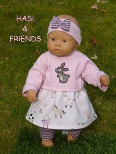 """Puppenkleidung - """"Hasi & Friends"""" 4tlg Set Gr.35-40cm - ein Designerstück von handgeschick bei DaWanda"""