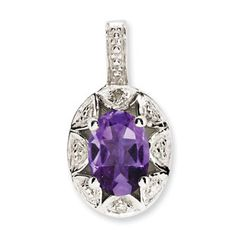 Sterling Silver Oval February Birthstone Amethyst Diamond Pendant Available Exclusively at Gemologica.com