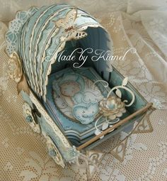 Shabby baby carriage card - Tilda, Magnolia