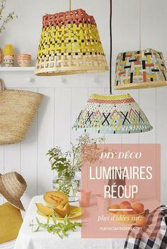 DIY récup : peindre des paniers en osier pour les transformer en luminaires déco - Marie Claire Idées