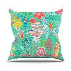 "KESS InHouse Aztec Boho by Anneline Sophia Rainbow Throw Pillow Size: 16'' H x 16'' W x 1"" D, Color: Gray"