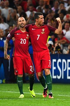 #EURO2016 Ricardo QUARESMA and Cristiano RONALDO of Portugal during the UEFA Euro 2016 Quarter Final between Poland and Portugal at Stade Velodrome on June 30...