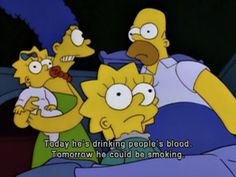 When Bart's become a vampire, Marge has her priorities firmly straight. :P