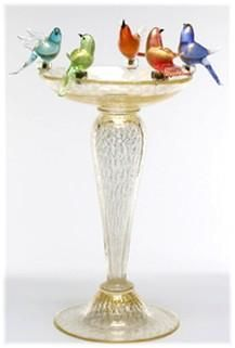 Murano Bird Bath Gold 22h x 14diam 2400.jpg by FrameWorx Art Gallerie