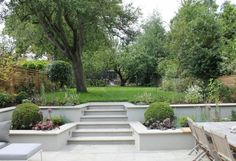 Summer Orchard Garden beds on a slope retaining walls