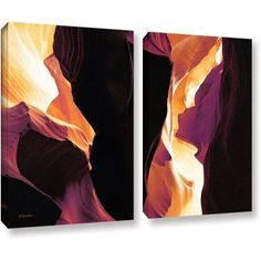 ArtWall Linda Parker Slot Canyon Light From Above 1 inch 2 Piece Gallery-wrapped Canvas Set, Size: 24 x 32, Brown