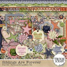 """Siblings Are Forever Digital Scrapbooking Kit - The love and companionship of a sibling lasts forever - and with this new collection from Trixie Scraps, you can celebrate and document the special bond shared by brothers and sisters! With a great palette perfect for boys or girls, """"Siblings Are Forever"""" has the perfect mix of versatile patterns and elements with just enough themed items thrown in to make this a great, everyday kit you'll reach for again and again."""