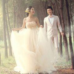 Petite-Plus Size Maternity Champagne Rosette High Waist Wedding Dress SKU-120090