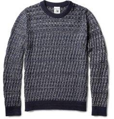 S.N.S. Herning Emergent Basket-Weave Cotton and Merino Wool-Blend Sweater   MR PORTER
