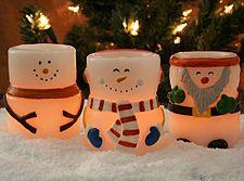 flameless snowman tealight candle set