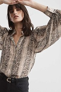 Warm Grey, Covered Buttons, Snake Print, Lace, Print Button, Shirts, Clothes, Tops, Women