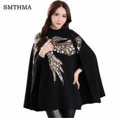 SMTHMA HIGH QUALITY Newest Fashion 2017 Runway Designer Sweater Women's Batwing Sleeve Bird Sequined Cape Pullover Sweater  #upcube