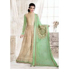 Beige and Green Net Indian #AnarkaliSuits With Dupatta - $184.51