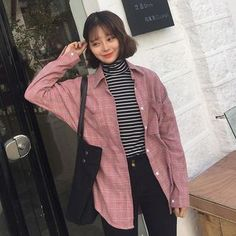 Buy Dute Plaid Long-Sleeve Blouse at YesStyle.com! Quality products at remarkable prices. FREE WORLDWIDE SHIPPING on orders over US$ 35.