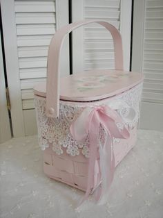 Pink Basket Purse Hand Painted Roses   by Rose Brook Cottage
