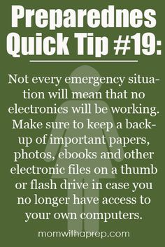 Save your computer files onto flash drives, #celiac #coeliac. Important #medical & other #info can help you, others in #NaturalDisaster.