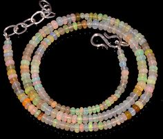 "37CRTS 3.5to4MM 18"" ETHIOPIAN OPAL RONDELLE BEAUTIFUL BEADS NECKLACE OBI3026 #OPALBEADSINDIA"