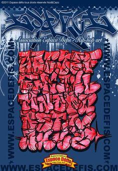 7 - Alphabet graffiti flop avec remplissage effet électrique (zig-zag) - Vous avez choisi celui-ci ! participez au sondage en votant le N° 7