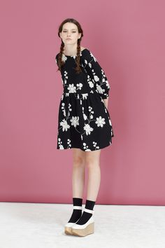 Embroidered Button-Cuff Angel Dress Black - THE WHITEPEPPER http://www.thewhitepepper.com/collections/dresses/products/embroidered-button-cuff-angel-dress-black