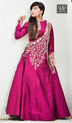 Awesome Magenta Color Silk Designer Gown