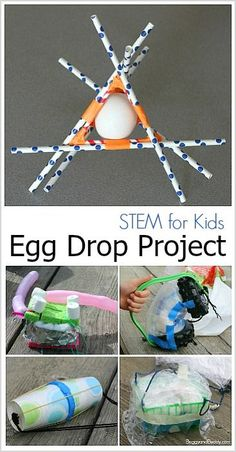 Egg Drop Project Fun STEM activity for kids- Design an egg contraption to protect a raw egg! (with 2 free printables!) Egg Drop Project Fun STEM activity for kids- Design an egg contraption to protect a raw egg! (with 2 free printables! Summer Science, Stem Science, Science Experiments Kids, Science Fair, Science For Kids, Science Tools, Science Ideas, Physical Science, Science Centers