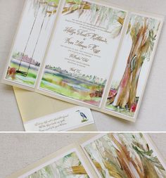 BEAUTIFUL lowcountry moss covered tree--hand painted wedding  invites-Momental Designs