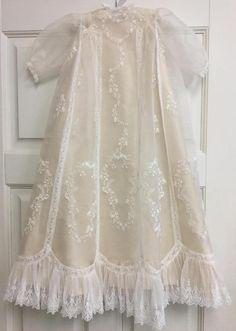 Vintage Yoke Silk Organza Christening Gown with Silk Dupioni
