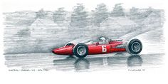 "John Surtees – 1966 Belgian Grand Prix – Ferrari 312. Surtees won this very rainy race. I sketched this at a cricket match.  Pencils, pen&ink, markers and Jack Daniels Honey Whiskey on 12""x 6"" watercolour paper  © Paul Chenard 2015   Original art SOLD; limited editions available."