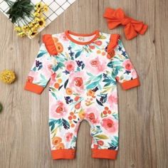 Girls Rompers with Bow - 19 Options! One Piece Jumper, Romper Outfit, Girls Rompers, Baby Outfits Newborn, Floral Romper, Outfit Of The Day, Girl Outfits, Long Sleeve, Clothes