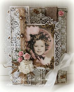Had to share this precious Shirley Temple Die Cut Card. Vintage Scrapbook, Scrapbook Cards, Tattered Lace Cards, Shabby Chic Cards, Picture Cards, Pretty Cards, Card Tags, Paper Cards, Handmade Flowers